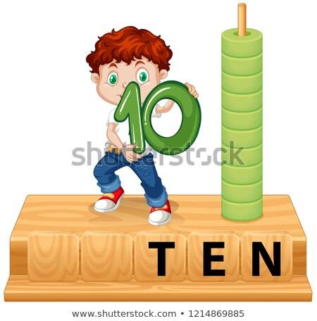 Jongen aantal tien illustratie ontwerp achtergrond Stockfoto © bluering