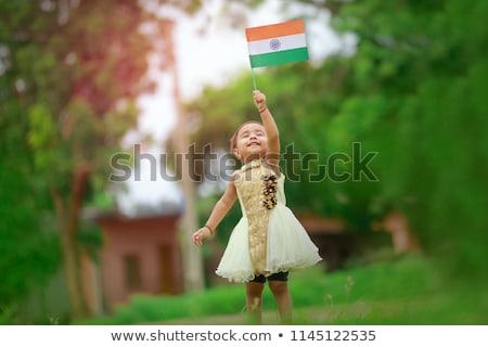 Kızlar bayrak Hindistan örnek kız öğrenci Stok fotoğraf © colematt