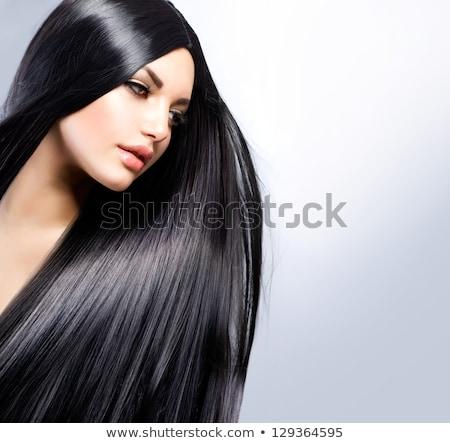 Retrato beautiful girl longo cabelo escuro em pé amarelo Foto stock © deandrobot