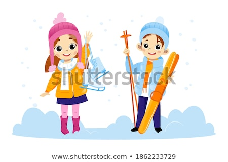 smiling couple in sport clothes waving hand Stock photo © dolgachov