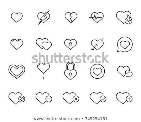 Rood vector hart iconen dun lijn Stockfoto © blumer1979
