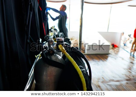 Equipment for snorkeling on the ship is ready for diving Stock photo © galitskaya