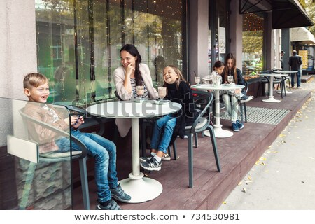 family and child spending time outdoor in winter Stock photo © Lopolo