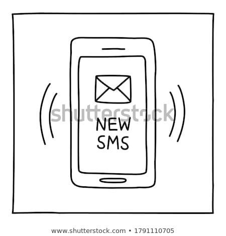 мобильного телефона sms рисованной болван икона Сток-фото © RAStudio
