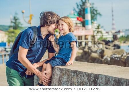 父から息子 灯台 シンボル 島 ベトナム オフ ストックフォト © galitskaya