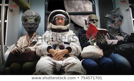 Astronauta obcych przestrzeni ilustracja krajobraz tle Zdjęcia stock © colematt