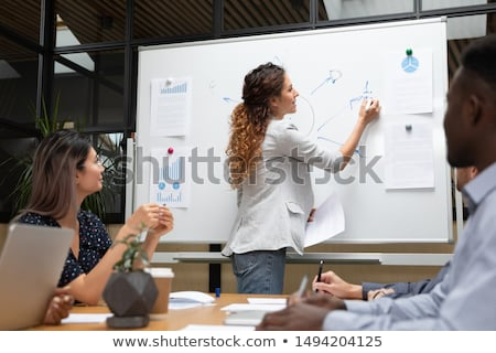 Presenter with Whiteboard and Infographics Charts Stock photo © robuart