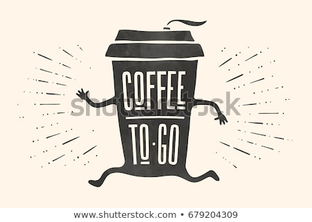 Hand drawn coffee paper cup vector monochrome icon Stock photo © robuart