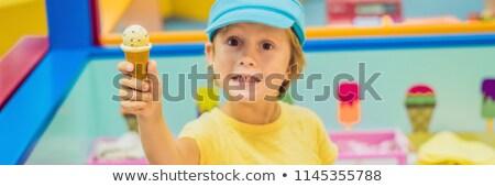 子供 再生 アイスクリーム 販売者 バナー 長い ストックフォト © galitskaya