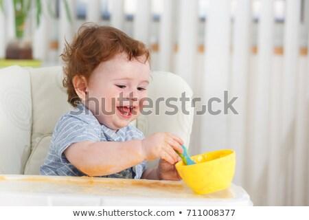 cute · mały · dziecko · posiedzenia · krzesło · uśmiechnięty - zdjęcia stock © lopolo