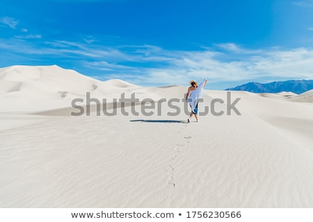sandy landscape with woman on top of dune stock photo © vapi