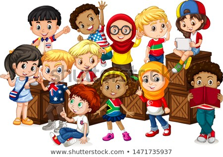 Many kids sitting on wooden boxes Stock photo © bluering