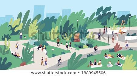 friends leisure urban park walking women vector stock photo © robuart