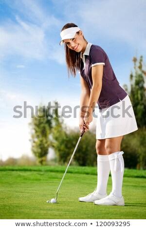 девушки · гольфист · зеленый · мяча · Кубок · женщину - Сток-фото © lichtmeister