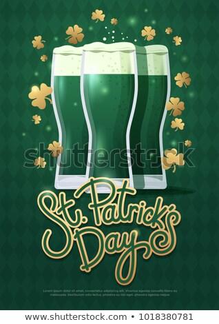 Szemüveg zöld sör shamrock Szent Patrik napja ünnepek Stock fotó © dolgachov