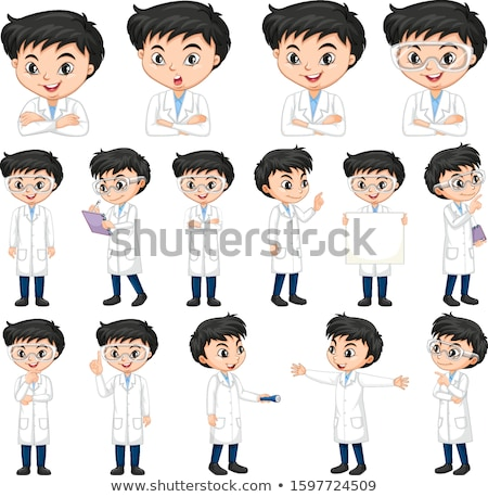 Boy in science gown doing different poses Stock photo © bluering