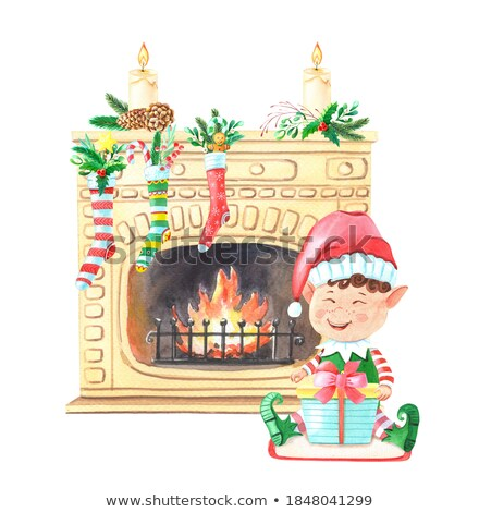 Elf Boy in House, Socks with Gifts on Fireplace Stock photo © robuart