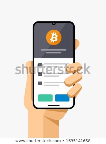 Smartphone portefeuille demande bitcoin écran eps Photo stock © karetniy
