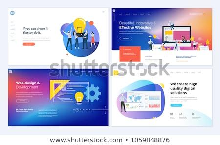 Creatieve idee landing pagina business team gloeilamp Stockfoto © RAStudio