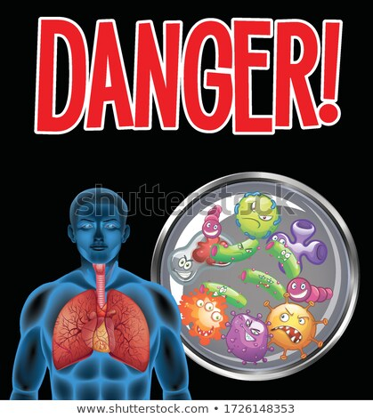 Coronavirus theme with word danger and human with bad lungs Stock photo © bluering