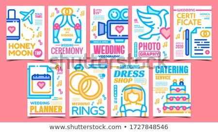Huwelijksceremonie reclame posters ingesteld vector bruiloft Stockfoto © pikepicture