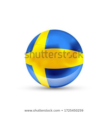 Zweden vlag glanzend bol witte geïsoleerd Stockfoto © evgeny89