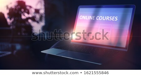 Self Education Concept Online Courses On Portable Laptop Foto stock © Tashatuvango