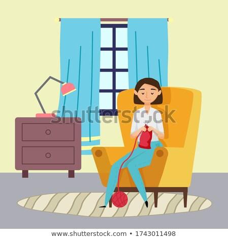 Nő köt piros sál ül fotel Stock fotó © robuart
