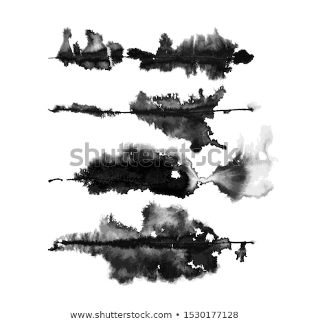 black ink watercolor splatter texture set of four Stock photo © SArts