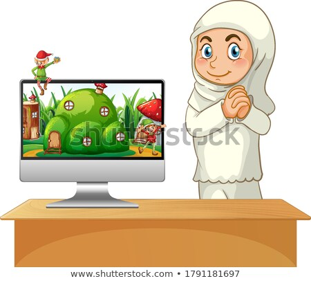 Girl next to computer with fairy tale background Stock photo © bluering