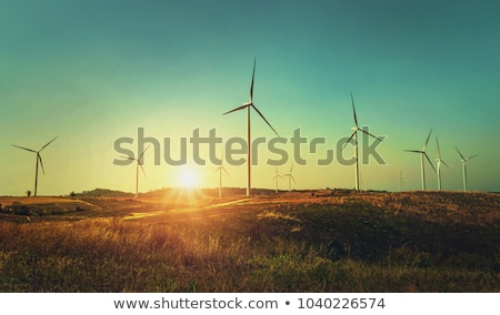 Stockfoto: Groene · energie · windmolen · ecologie · platteland · blauwe · hemel · business