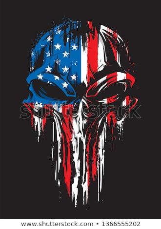 skull with skeleton bones on grunge military background stock photo © loopall