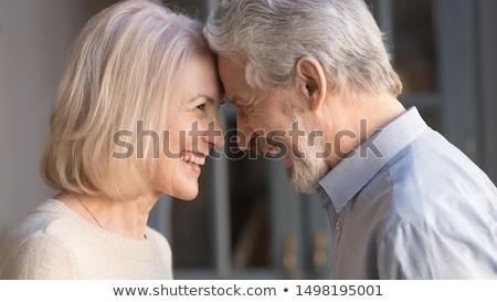 anziani · romantica · Coppia · primo · piano · shot · testa - foto d'archivio © stockyimages