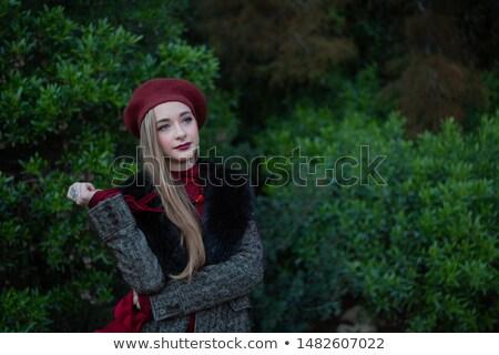 Szőke nő piros bársony sál arc Stock fotó © photography33