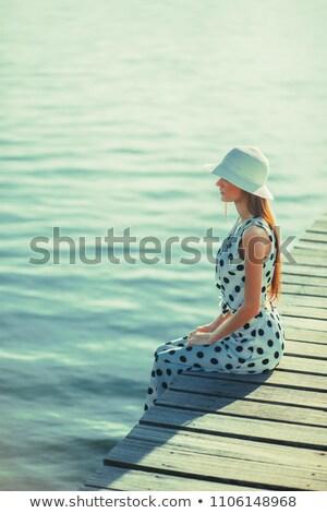 Pinup fehér kalap aranyos szexi szőke Stock fotó © carlodapino