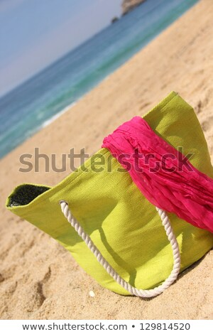 green beach bag on the seacoast and pink shawl foto stock © tannjuska