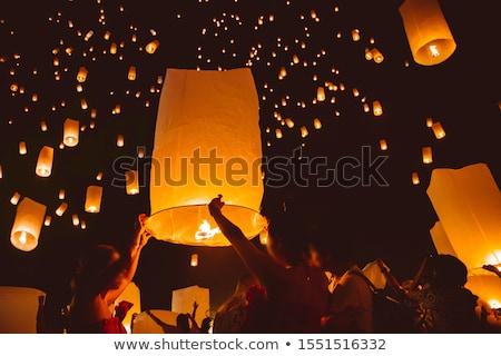 Stok fotoğraf: Budist · lambalar · yanan · tapınak · seyahat · kırmızı