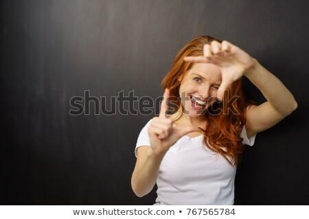 güzel · genç · kadın · çerçeve · parmaklar · beyaz - stok fotoğraf © pablocalvog