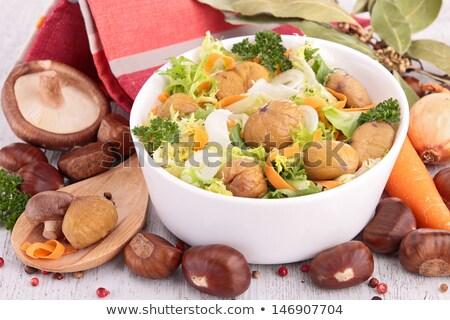 Kastanje salade achtergrond lunch vers champignon Stockfoto © M-studio