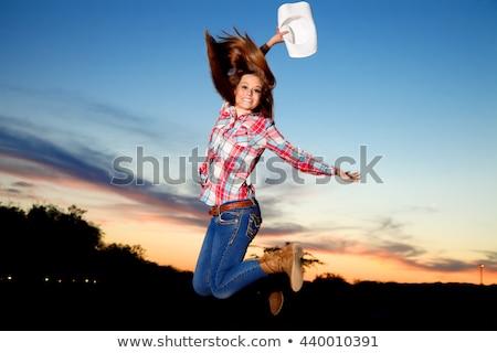 улыбаясь · прыжки · изолированный · белый · женщины · моде - Сток-фото © stepstock