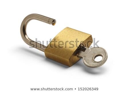 trancado · cadeado · isolado · branco · ouro · cor - foto stock © supersaiyan3