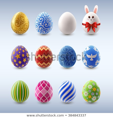 set of color easter eggs decorated of ornament stock photo © elenapro