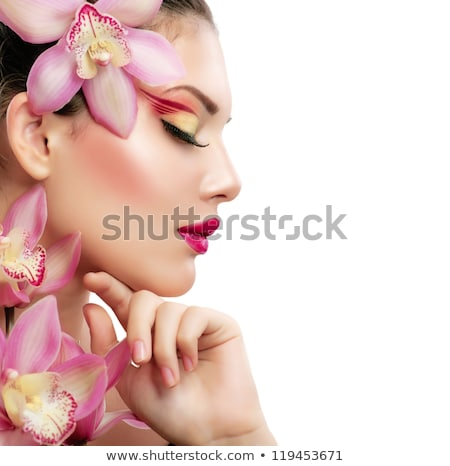 Close=up portrait of a beautiful woman with flowers Stock photo © Nejron