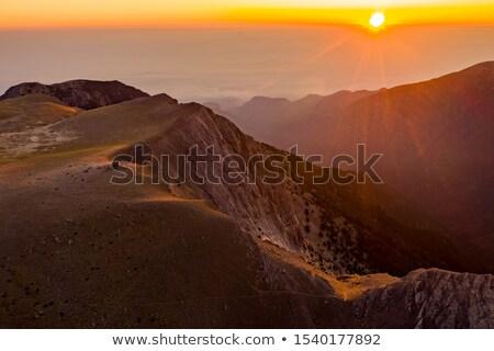 Puesta de sol montanas paisaje Grecia árbol forestales Foto stock © mahout