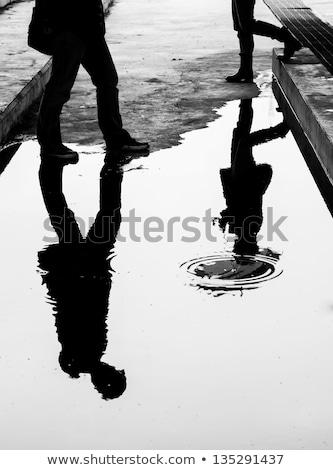 люди · ходьбе · влажный · тротуар · здании · город - Сток-фото © andromeda