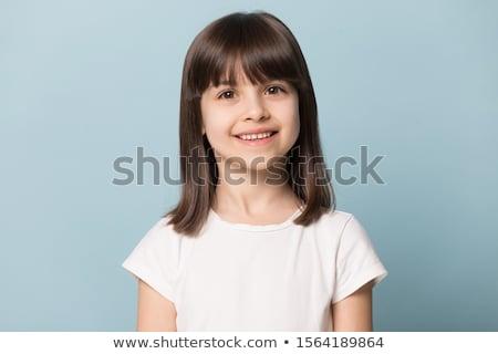 Sorridente jovem beautiful girl cabelo castanho retrato mulheres Foto stock © meinzahn