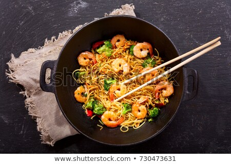 stir fried noodle with shrimp thai cuisine stock photo © punsayaporn