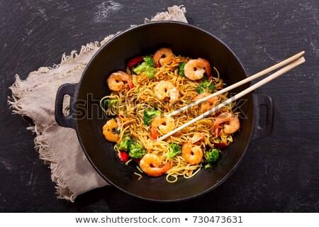 Stir fried noodle with shrimp, thai cuisine Stock photo © punsayaporn
