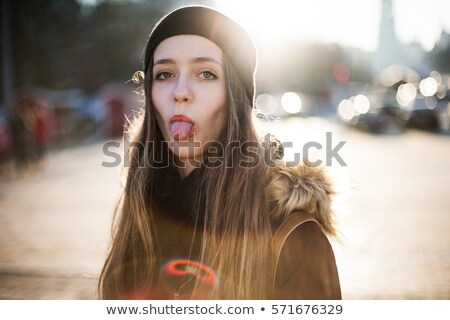 幸せ 女性 外に 舌 太陽 面白い ストックフォト © Kor