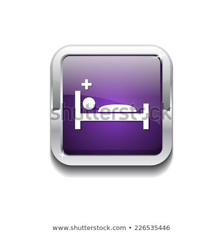 heath care bed purple vector icon button stock photo © rizwanali3d